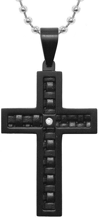 JCPenney FINE JEWELRY Mens Diamond-Accent Stainless Steel & Leather Cross Pendant Necklace