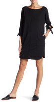 Max Studio Tie Long Sleeve French Terry Dress