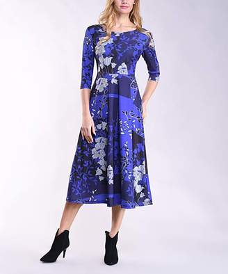 Lbisse Women's Casual Dresses Royal - Royal Blue & Black Floral Three-Quarter Sleeve Maxi Dress - Women & Plus
