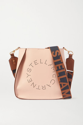 Stella McCartney Logo-perforated Vegetarian Leather Shoulder Bag - Neutral