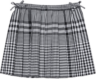 Burberry Girl's Pearly Check-Print Pleated Skirt, Size 3-14