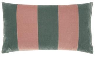Christina Lundsteen - Striped Cotton-velvet Cushion - Blue Multi