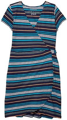 Pact Organic Cotton Wrap Dress (Resort Stripe) Women's Dress