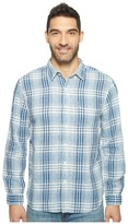 True Grit Genuine Indigo Linen Long Sleeve One-Pocket Shirt Small Plaids Men's Clothing