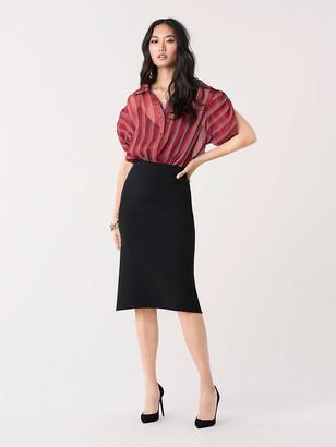 Diane von Furstenberg Beatriz Crinkle Chiffon Short-Sleeve Shirt
