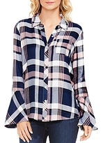 Vince Camuto Brecken Bell Sleeve Plaid Shirt
