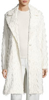 Co Flocked One-Button Coat, Ivory