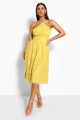 boohoo Occasion Lace Full Skater Midi Dress