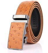Myymee Ostrich Pattern Men's Genuine Leather Belt Automatic Buckle Male Leather Belt Grass Yellow