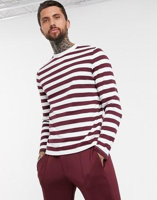 ASOS DESIGN long sleeve striped t-shirt in organic cotton in burgundy