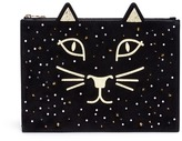 Charlotte Olympia 'Feline' kitty face embellished suede pouch