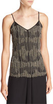 Haute Hippie Silk Beaded-Fringe Camisole, Black