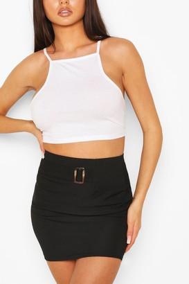 boohoo Rib Mini Skirt With Buckle Front