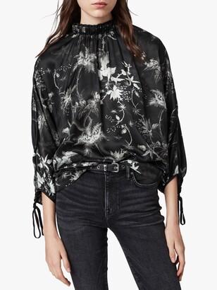 AllSaints Rora Evolution Floral Top, Black