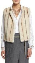 Brunello Cucinelli Sewn-In Striped Mink Fur Vest, Vanilla