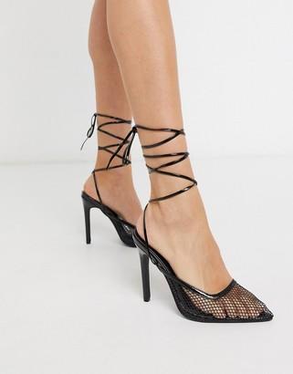 Public Desire Fiesty mesh ankle tie heeled shoe in black