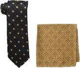 Steve Harvey Men's Tall Satin Grid Necktie and Brocade Pocket Square