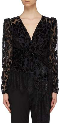 Self-Portrait Self Portrait Lace trim twist front leopard devore peplum top