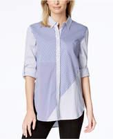 Calvin Klein Mixed-Print High-Low Shirt
