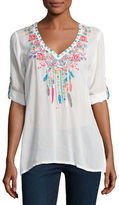 Johnny Was Butterfly Dreams Embroidered Blouse, Plus Size