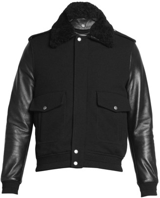 Saint Laurent Faux Fur Collar Aviator Jacket