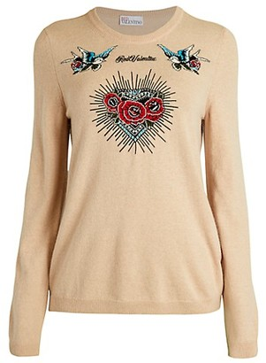 RED Valentino Floral Embroidery Wool Cashmere Sweater