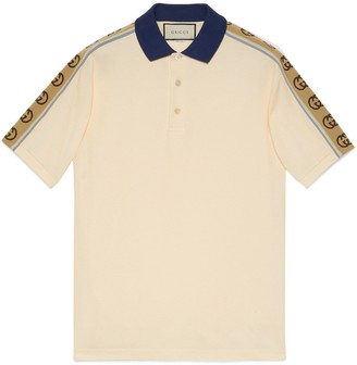 Gucci Cotton polo with Interlocking G stripe