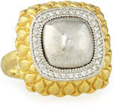 Jude Frances Pave Diamond Quilted Two-Tone Cushion Ring, Size 6.5