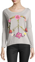 Chaser Wild Flower Peace Long-Sleeve Tee, Gray