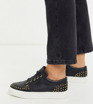 Simply Be wide fit studded sneaker in black