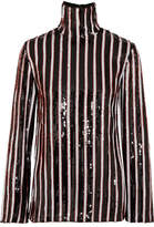 MSGM Striped Sequined Tulle Top - Black