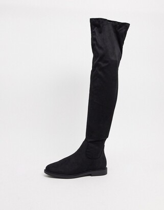 ASOS DESIGN Kennedy flat over the knee boots in black