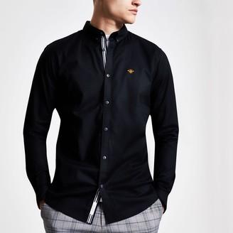 River Island Mens Black embroidered slim fit Oxford shirt