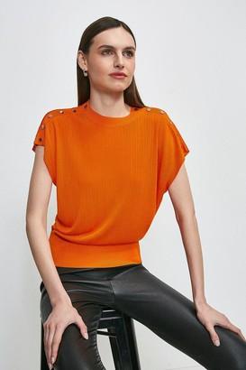 Karen Millen Slinky Rib Button Shoulder Knitted Top