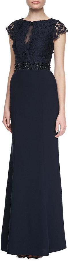 Monique Lhuillier ML Cap Sleeve Lace Bodice Gown, Navy