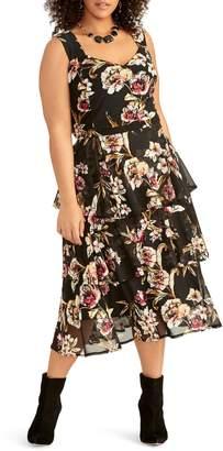 Rachel Roy Valia Floral Ruffled Mesh Dress