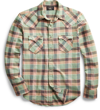 Ralph Lauren Slim Plaid Twill Western Shirt