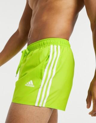 adidas 3 Stripe Swim Shorts In Yellow