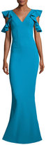 La Petite Robe di Chiara Boni Beaufort Cold-Shoulder Ruffle-Sleeve Jersey Gown, Blue