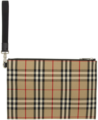 Burberry Beige Flat Check Pouch