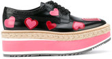 Prada hearts print lace-up shoes - women - Raffia/Calf Leather/Leather/rubber - 38.5