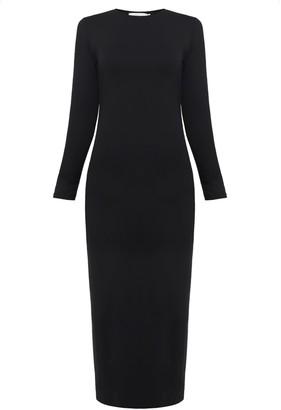Undress Kalini Dark Grey Fitted Midi Jersey Dress