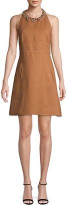 Valentino Floral Applique Halter Dress