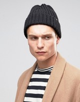 Ps By Paul Smith Wool Ribbed Beanie In Black