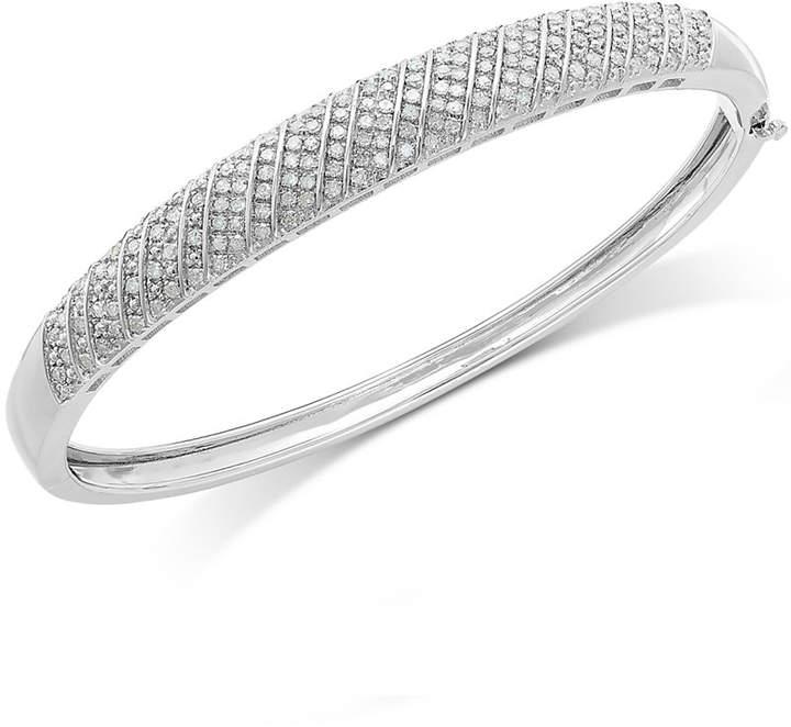 Macy's Diamond Multi-Row Bangle Bracelet in Sterling Silver (1 ct. t.w.)
