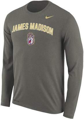 Nike Men's Charcoal James Madison Dukes Arch Over Logo Long Sleeve Performance T-Shirt