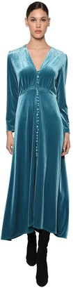 Luisa Beccaria Button Down Flared Velvet Midi Dress
