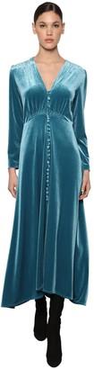 Luisa Beccaria Button Down Flared Velvet Midi Dress