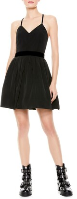 Alice + Olivia Madison Pleated Fit & Flare Minidress