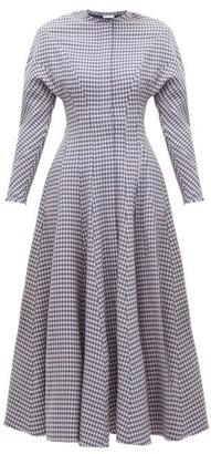 Vika Gazinskaya Flared Houndstooth Wool Dress - Womens - Blue Multi